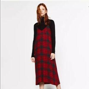 Zara plaid check tartan red fall midi slip dress S